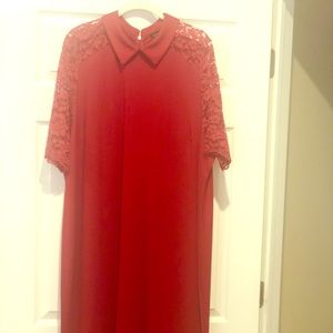 Stunning Eloquii red dress with lace sleeves